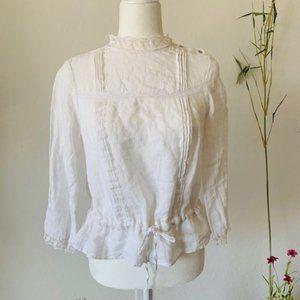 ZARA White Linen Lace Trim Tie Waist Top